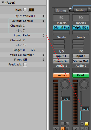 Step 15 - You can also choose to control the mixers properties by changing the fader output to control type on channel 1